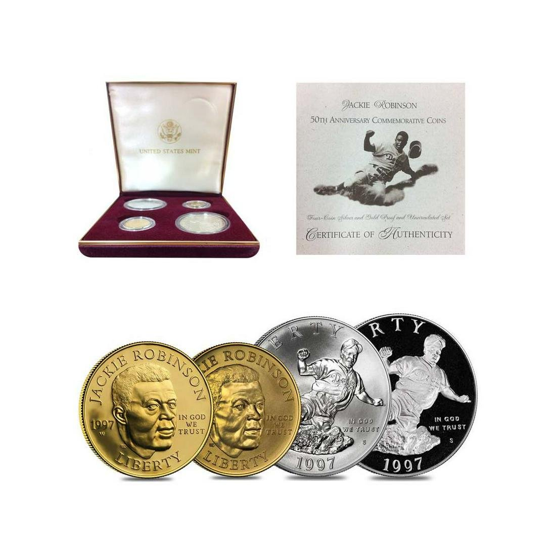 JACKIE ROBINSON COMMEMORATIVE GOLD SILVER PROOF SET