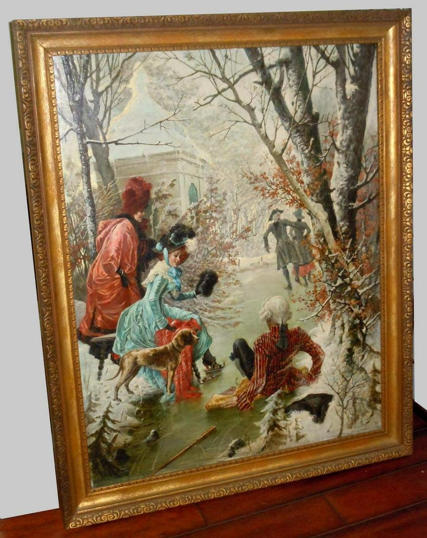TONI ARON ICE SKATING WINTER FIGURES DOG OIL PAINTING