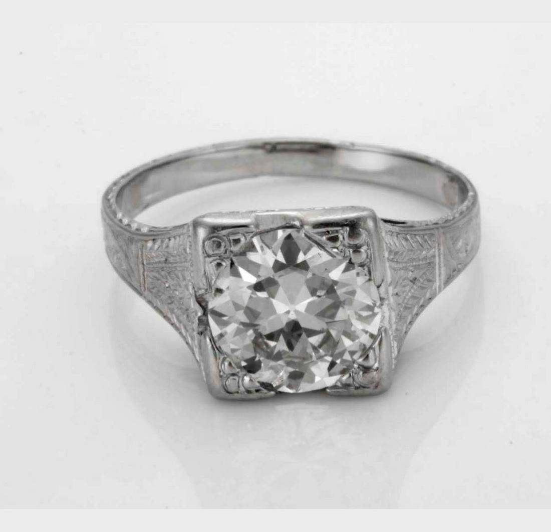 ART DECO 1.70CT DIAMOND PLATINUM ENGAGEMENT RING c1925