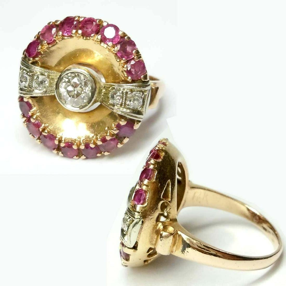 14KT PINK ROSE GOLD RUBY DIAMOND BOW TIE COCKTAIL RING