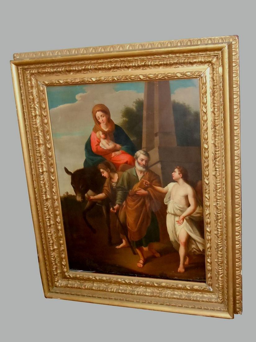 ST. JOSEPH MADONNA & CHILD OIL PAINTING 18C ITALIAN