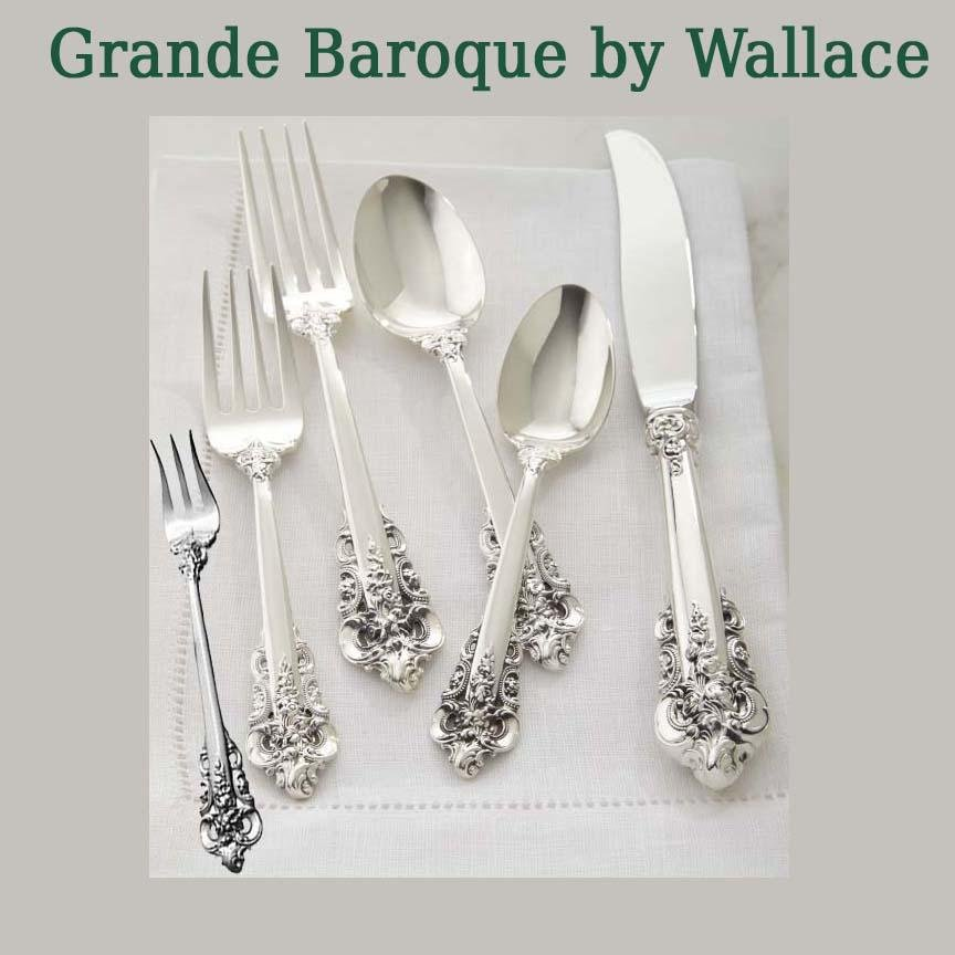WALLACE GRANDE BAROQUE STERLING SILVER FLATWARE 98 Pcs.