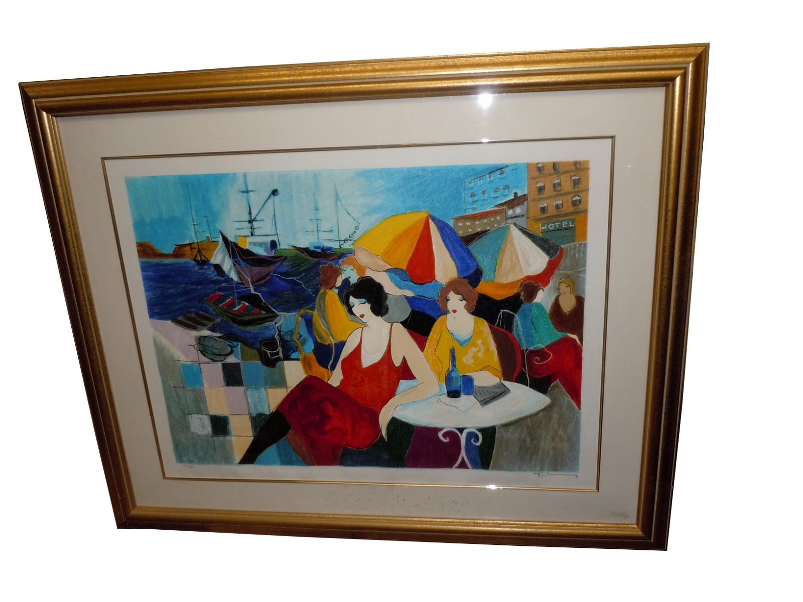 ITZCHAK TARKAY OUTDOOR SEASIDE CAFE SIGNED LITHOGRAPH