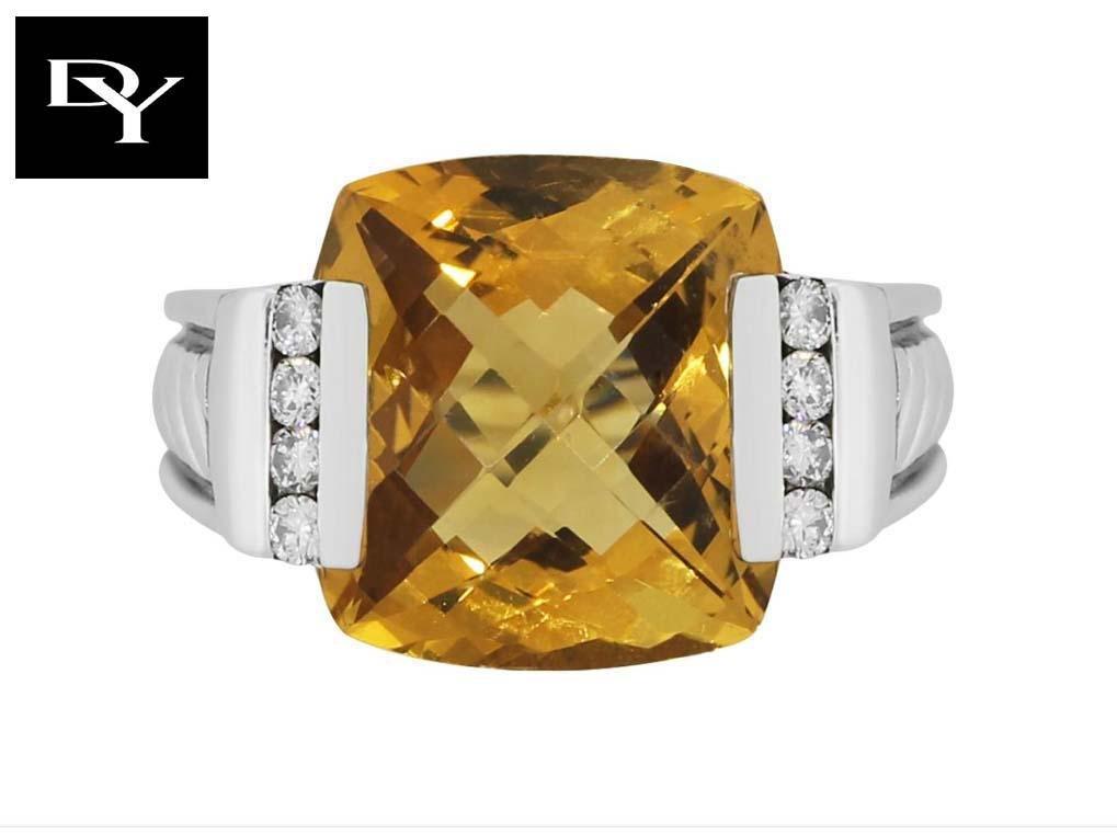LARGE YURMAN 15MM YELLOW ORANGE CITRINE DIAMOND RING