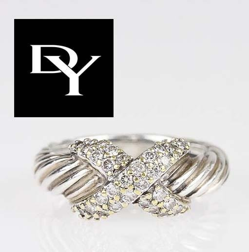 18KT YELLOW GOLD STERLING SILVER & DIAMOND X CABLE RING