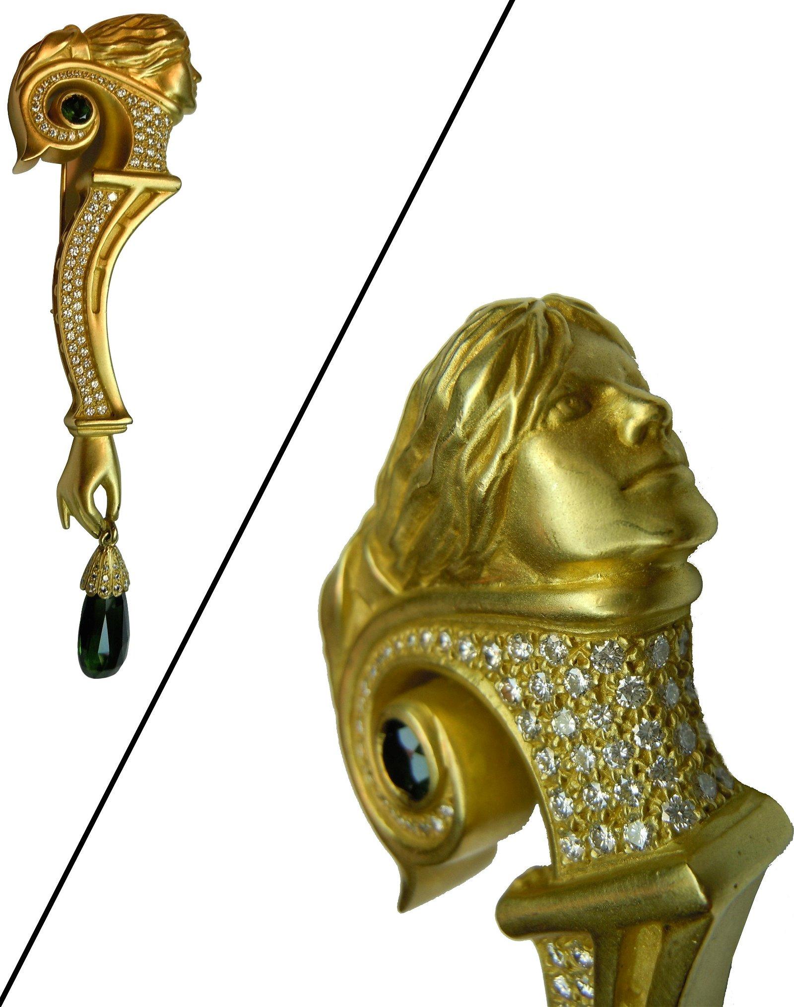 KIESELSTEIN CORD 18K GOLD DIAMOND & TOURMALINE BROOCH