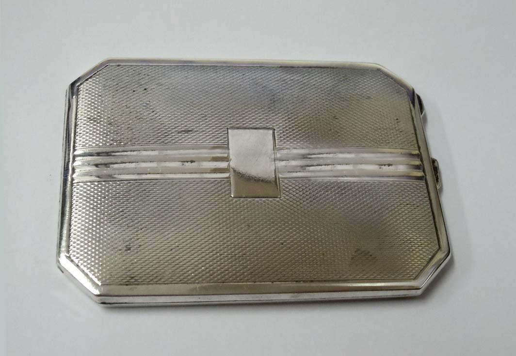 DEAKIN & FRANCIS DECO GOLD WASH SILVER CIGARETTE CASE