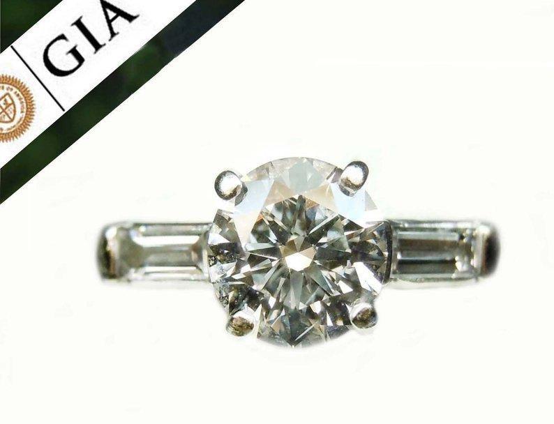 18KT GOLD 1.29CT GIA DIAMOND 3 STONE ENGAGEMENT RING G