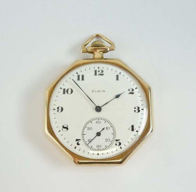1919 DECO 14K GOLD ELGIN POCKET WATCH OCTAGONAL CASE 8S