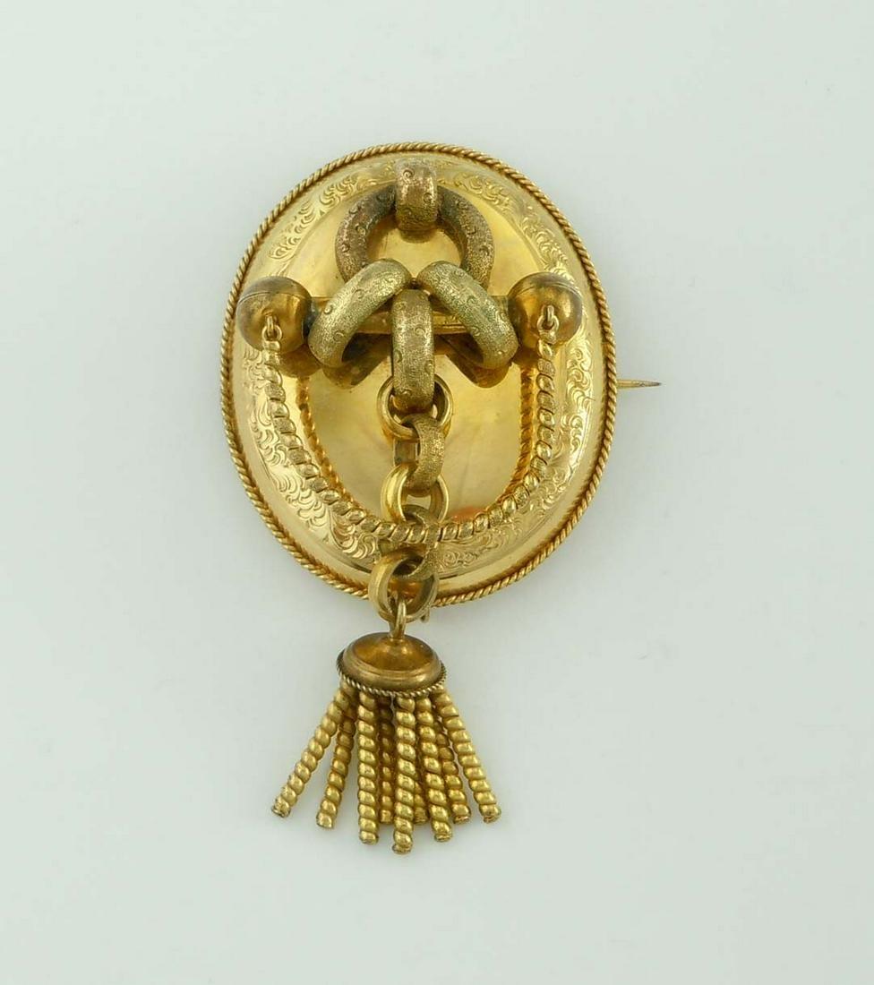 14KT GOLD ENGRAVED VICTORIAN TASSEL BROOCH CIRCA 1880