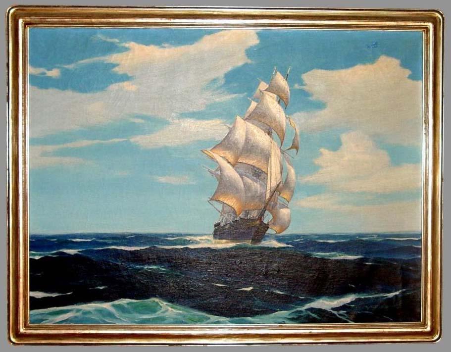 HUNTER WOOD SHIP OIL PAINTING NEWCOMB MACKLIN FRAME