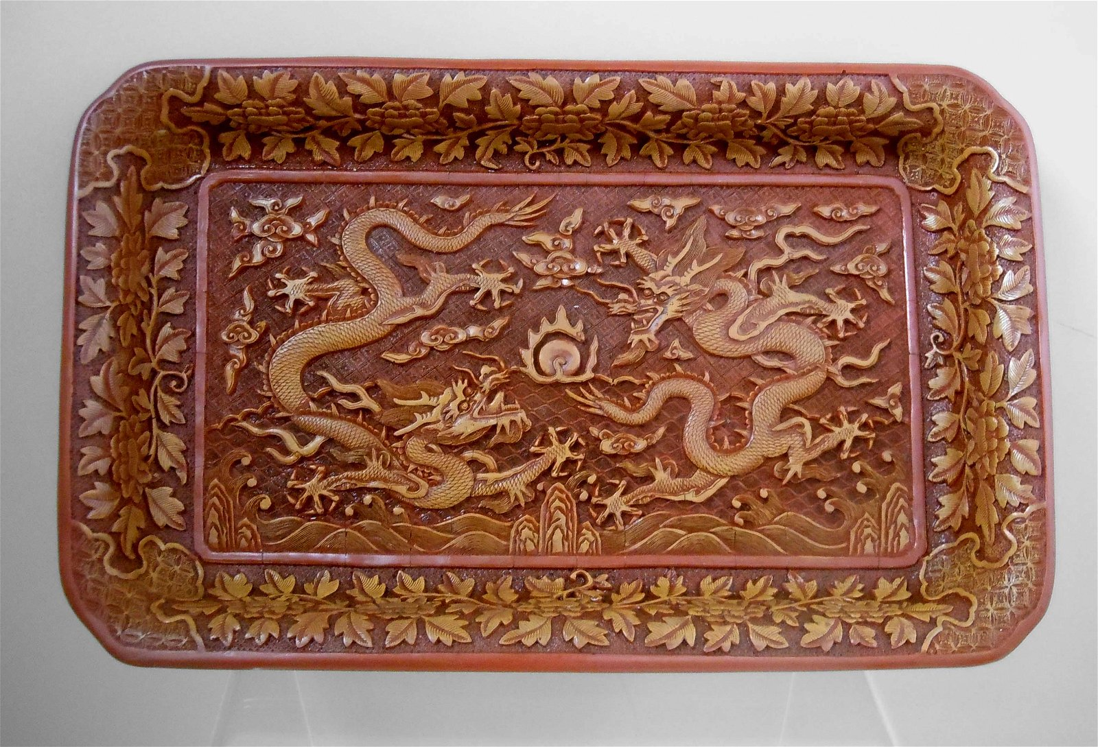 CARVED CHINESE CINNABAR FLAMING PEARL DRAGON TRAY Of