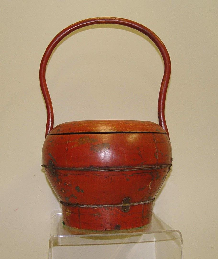 CHING DYNASTY RED LACQUER CHINESE WOOD METAL LUNCH PAIL
