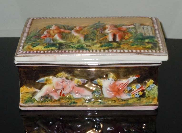 Circa 1900  CAPODIMONTE PORCELAIN JEWELRY TRINKET BOX
