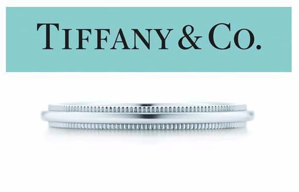 LADYS PLATINUM TIFFANY MILGRAIN WEDDING BAND 2mm RING