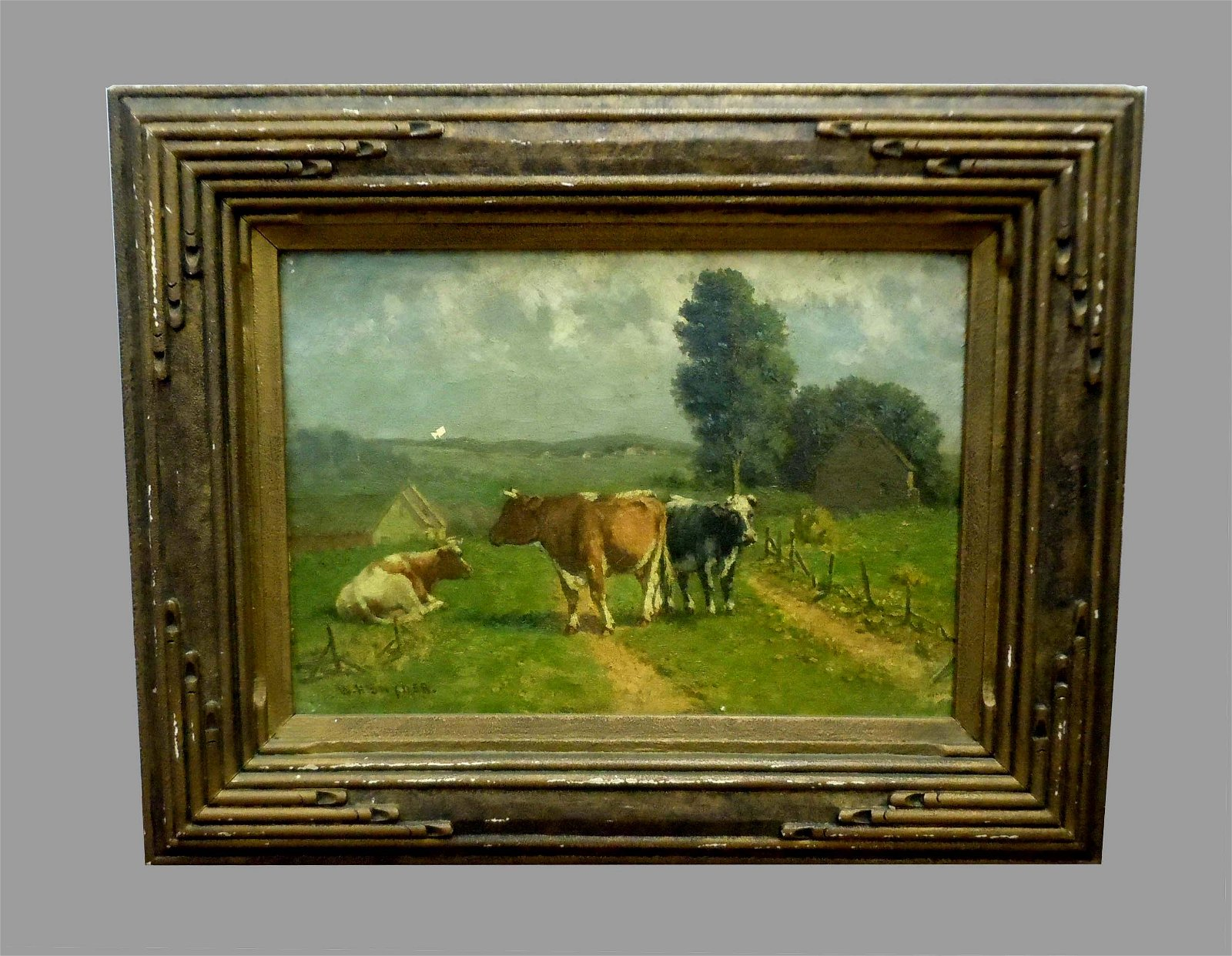 WILLIAM HENRY SNYDER COWS IN PASTURE OIL PAINTING C1880