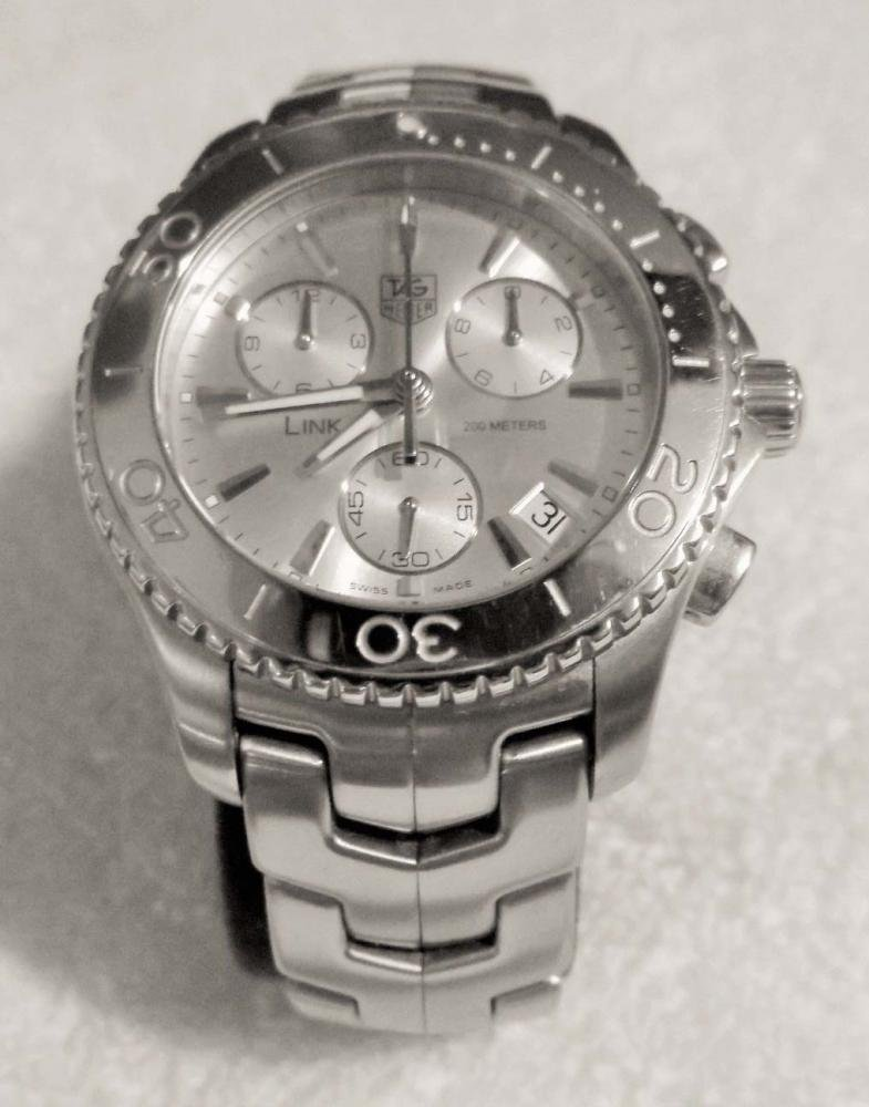 MENS STAINLESS TAG HEUER LINK CJ1111 CHRONOGRAPH WATCH