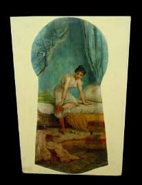 JOSEPH BERNARD FRENCH PAINTING KEYHOLE CABARET DANCER
