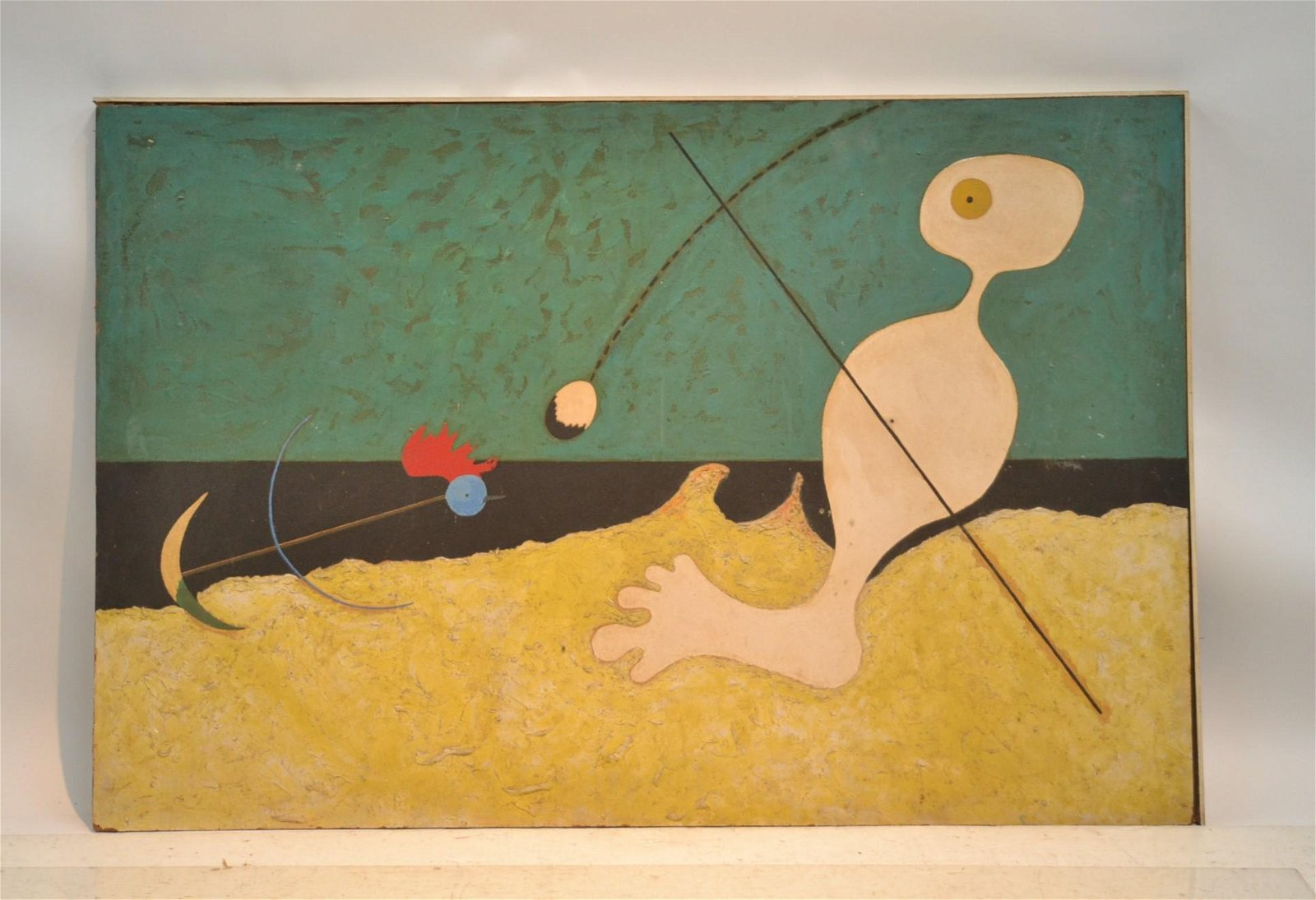 AFTER JOAN MIRO PAINTING PERSON THROWING STONE AT BIRD