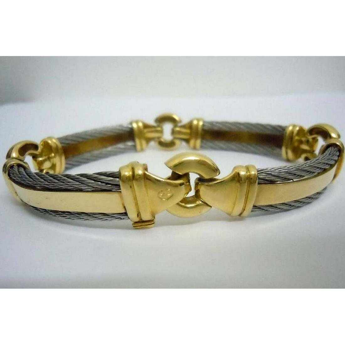 PHILIPPE CHARRIOL 18K GOLD STAINLESS CABLE BRACELET