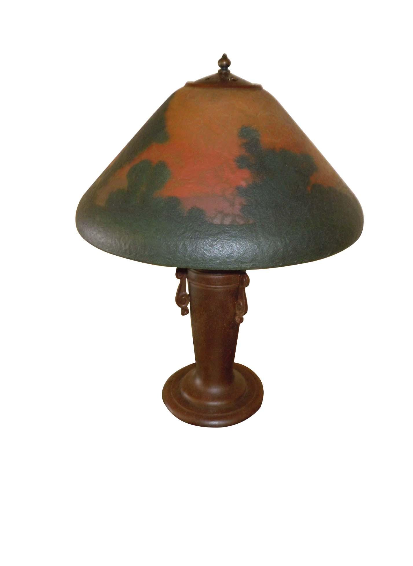 HANDEL REVERSE PAINTED, LUSH LANDSCAPE TABLE LAMP