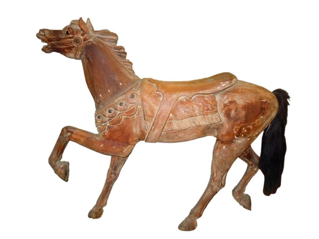 HERSCHELL SPILLMAN STANDER CARVED WOODEN CAROUSEL HORSE