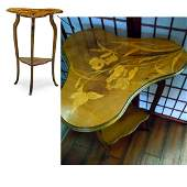 FRENCH EMILE GALLE ART NOUVEAU TABLE WITH IRISES c1900