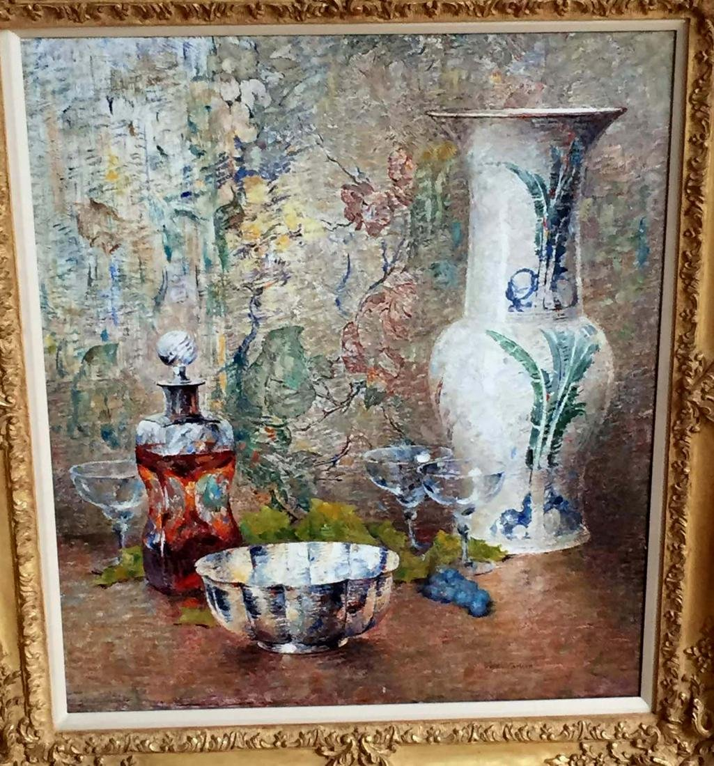 DINES CARLSEN OIL PAINTING STILL LIFE CANTON BOWL VASE