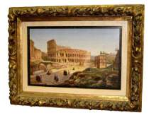 ROME COLOSSEUM GRAND TOUR MICROMOSAIC PLAQUE Circ 1870