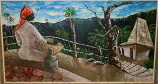 JACQUES GOURGUE HAITIAN FEMALE BALCONY OIL PAINTING