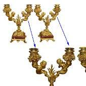 19C FRENCH LOUIS XVI DORE BRONZE CHERUB CANDLE HOLDERS