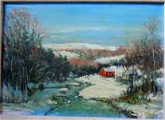 WALTER EMERSON BAUM OIL PAINTING WINTER RIVER RED MILL