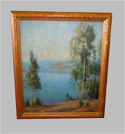 GUSTAVE ADOLPH WIEGAND OIL PAINTING BLUE MOUNTAIN LAKE