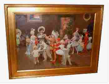 PERCY TARRANT CHRISTMAS FANCY DRESS PARTY OIL PAINTING