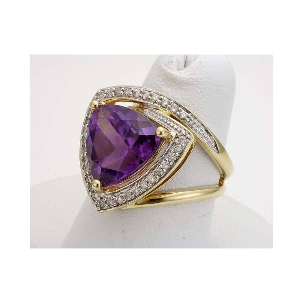 6.06CT CUT TRILLION AMETHYST DIAMOND 14K GOLD HALO RING