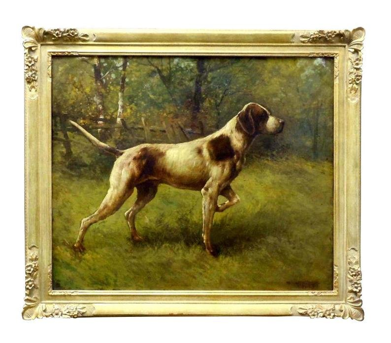 AMERICAN SCHOOL POINTER HUNTING DOG OIL PAINTING c 1909