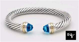 DAVID YURMAN 14K SILVER BLUE TOPAZ CABLE CUFF BRACELET