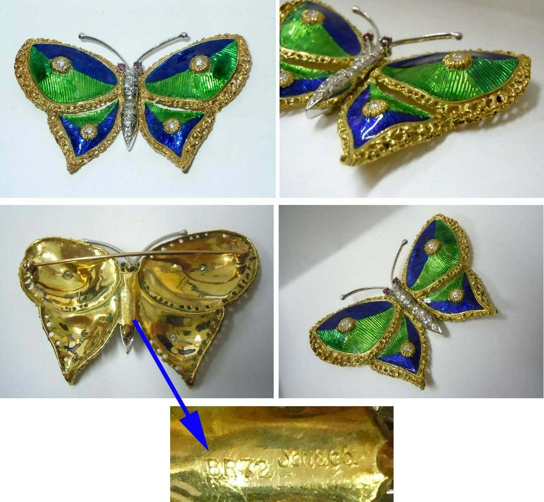 18KT GOLD ENAMEL RUBY DIAMOND BUTTERFLY BROOCH Ca. 1972