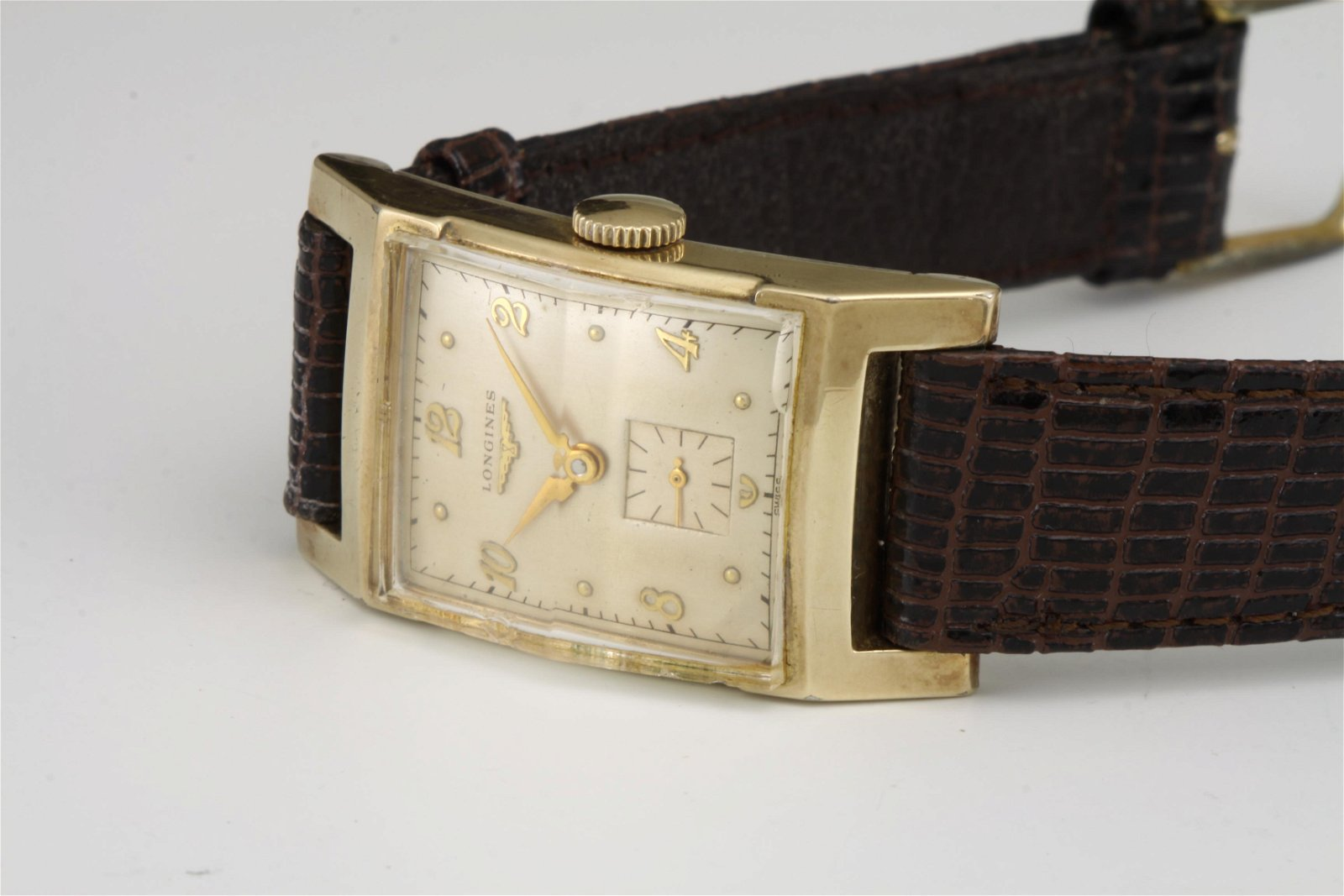 1950's DECO 10K GOLD FILLED LONGINES CURVEX MENS WATCH