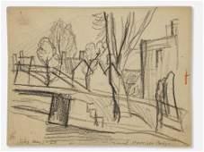 OSCAR FLORIANUS BLUEMNER DRAWING 1920 HARRISON BRIDGE
