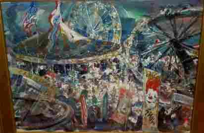 JOHN COSTIGAN CARNIVAL PAINTING CLOWNS FERRIS WHEEL