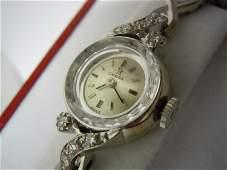 1950S LADYS 14K WHITE GOLD OMEGA 484 DIAMOND WATCH A