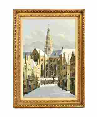 JACOBUS LAMBERTUS DISPO, SR OIL PAINTING DUTCH STREET