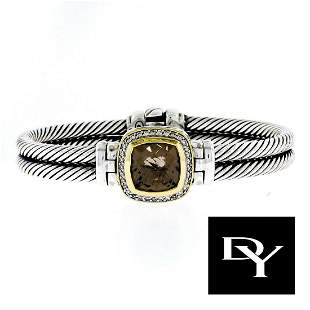 DAVID YURMAN 11MM SMOKY QUARTZ DIAMOND 18K 925 BRACELET