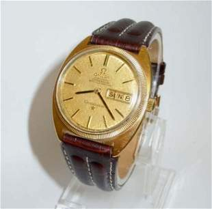 18K GOLD OMEGA CONSTELLATION AUTOMATIC DATE WATCH, 1968