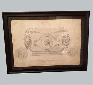 1902 MIXED MEDIA TIFFANY Co. SONS Of REVOLUTION DRAWING