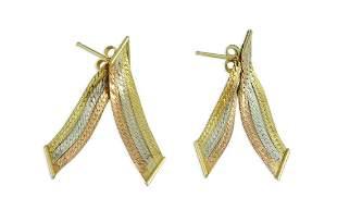 14K ROSE WHITE YELLOW TRI-COLOR GOLD RIBBON EARRINGS