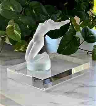 LALIQUE FRANCE CHRYSIS ART GLASS NUDE MASCOT FIGURINE
