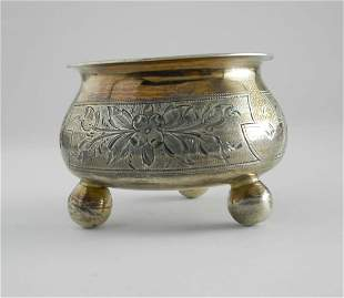 IMPERIAL RUSSIAN HAND ENGRAVED 84 SILVER SALT c. 1883