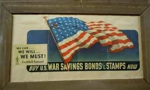 WWII FDR PROPAGANDA POSTER BUY US WAR BONDS USA FLAG